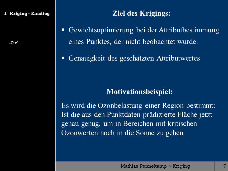 Mathias Pennekamp ~ Kriging18 Analysen im Semivariogramm Nugget ist ein Maß für Streuung des Signals im Nahbereich (Messfehler): Semivarianz für d = 0: (d) = ½ { z(P) – z(P+d) } ² (d) = 0 Range gibt an, wie weit die Punkte korrelieren: Bestimmung der Größe der Nachbarschaft, dessen Punkte ich zur Interpolation verwende.