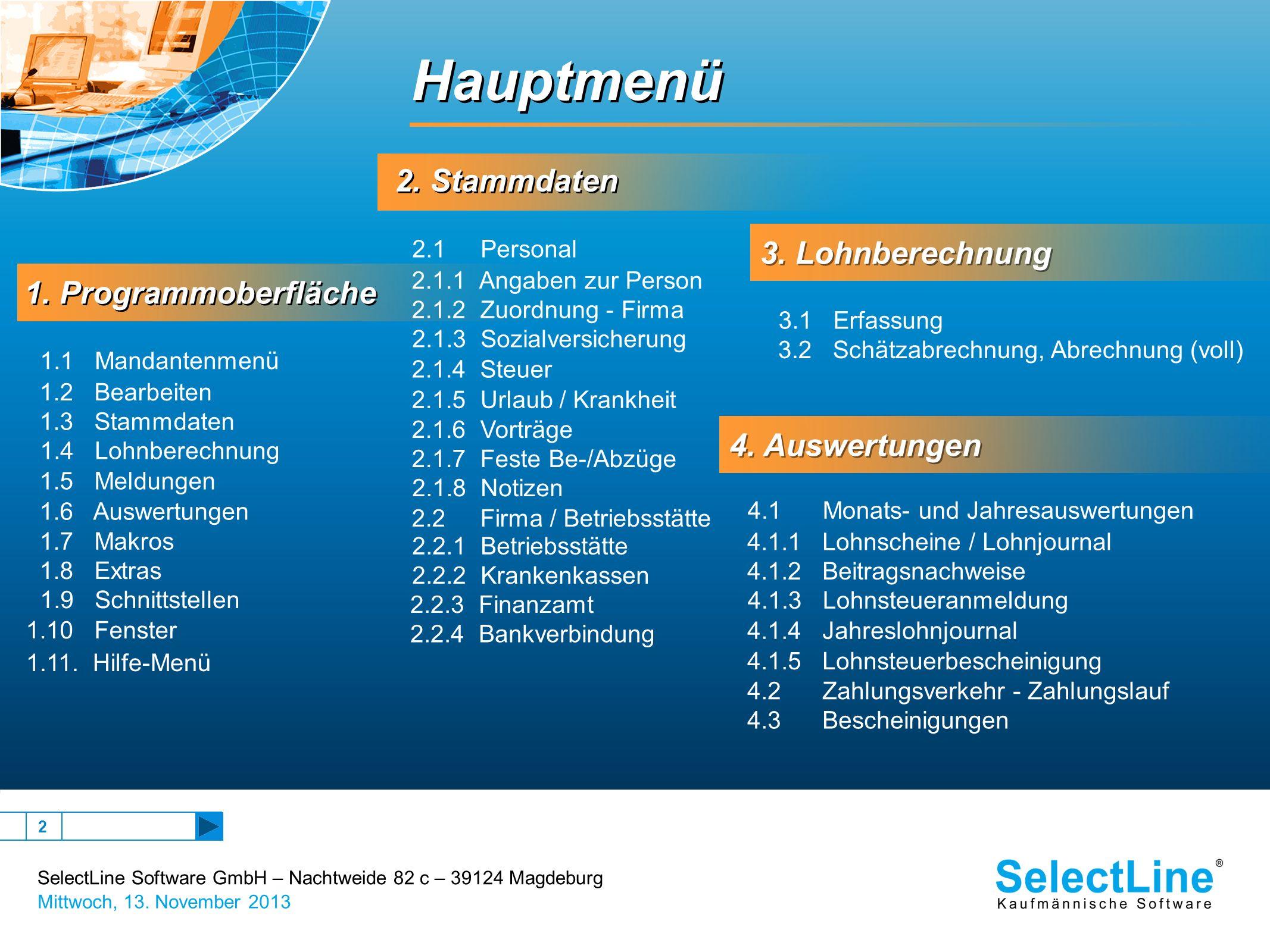SelectLine Software GmbH – Nachtweide 82 c – 39124 Magdeburg Mittwoch, 13. November 2013 2 1. Programmoberfläche 1. Programmoberfläche 2. Stammdaten H