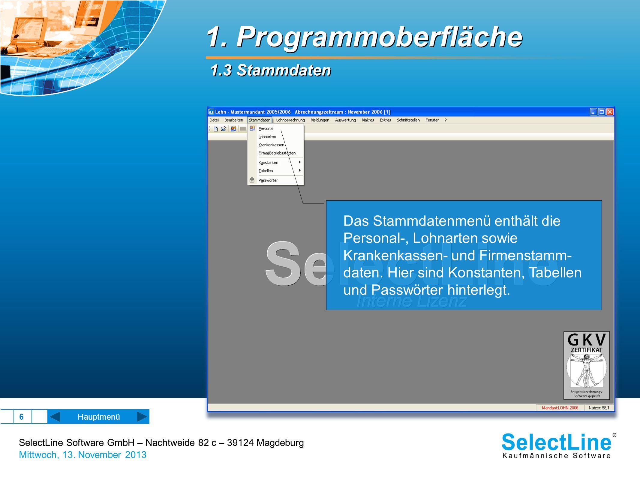SelectLine Software GmbH – Nachtweide 82 c – 39124 Magdeburg Mittwoch, 13. November 2013 6 1. Programmoberfläche 1.3 Stammdaten Hauptmenü Das Stammdat
