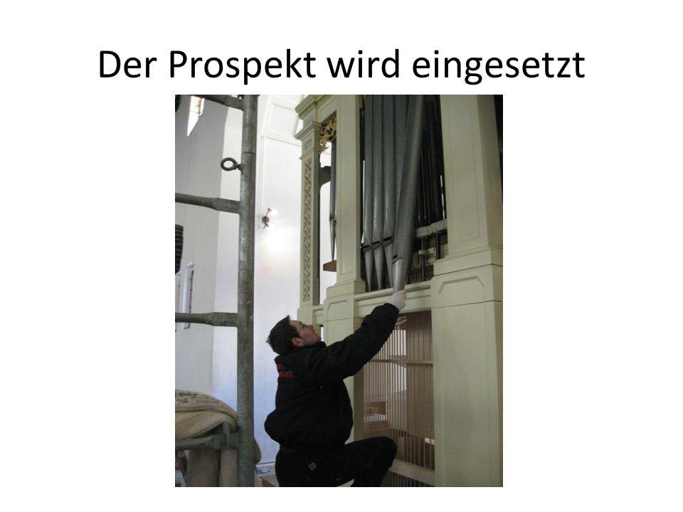 Der Prospekt wird eingesetzt