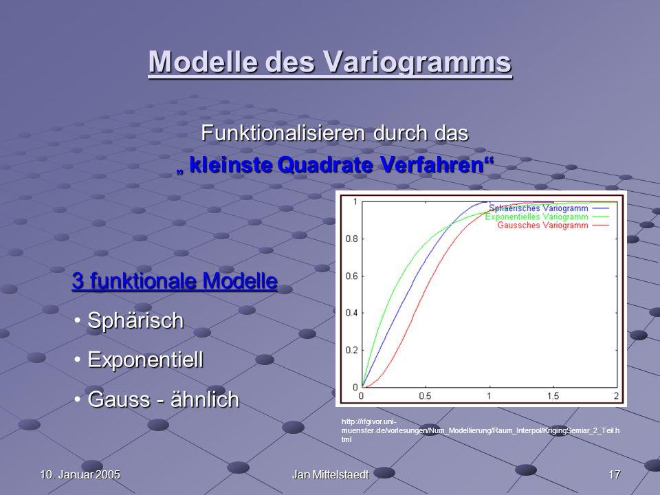 1710. Januar 2005Jan Mittelstaedt Modelle des Variogramms Funktionalisieren durch das kleinste Quadrate Verfahren kleinste Quadrate Verfahren 3 funkti