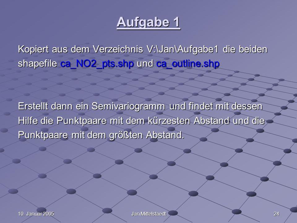 2410. Januar 2005Jan Mittelstaedt Aufgabe 1 Kopiert aus dem Verzeichnis V:\Jan\Aufgabe1 die beiden shapefile ca_NO2_pts.shp und ca_outline.shp Erstell