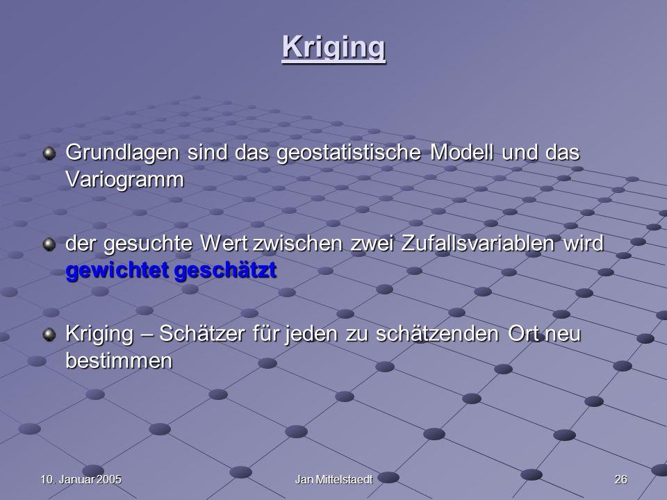2610. Januar 2005Jan Mittelstaedt Kriging Grundlagen sind das geostatistische Modell und das Variogramm der gesuchte Wert zwischen zwei Zufallsvariabl