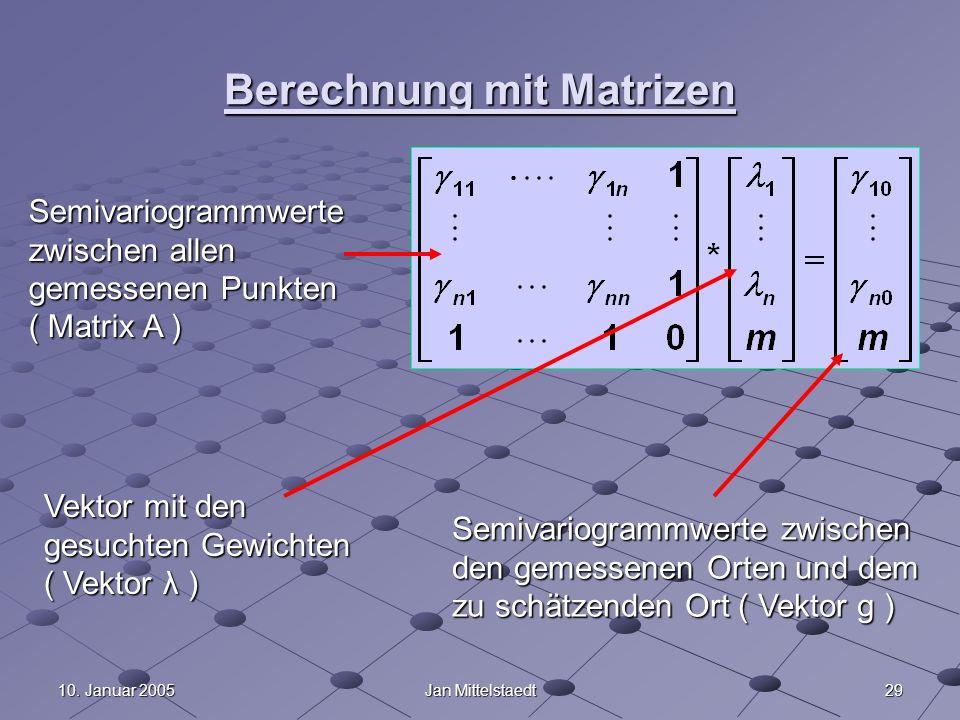 2910. Januar 2005Jan Mittelstaedt Berechnung mit Matrizen Semivariogrammwerte zwischen allen gemessenen Punkten ( Matrix A ) Vektor mit den gesuchten