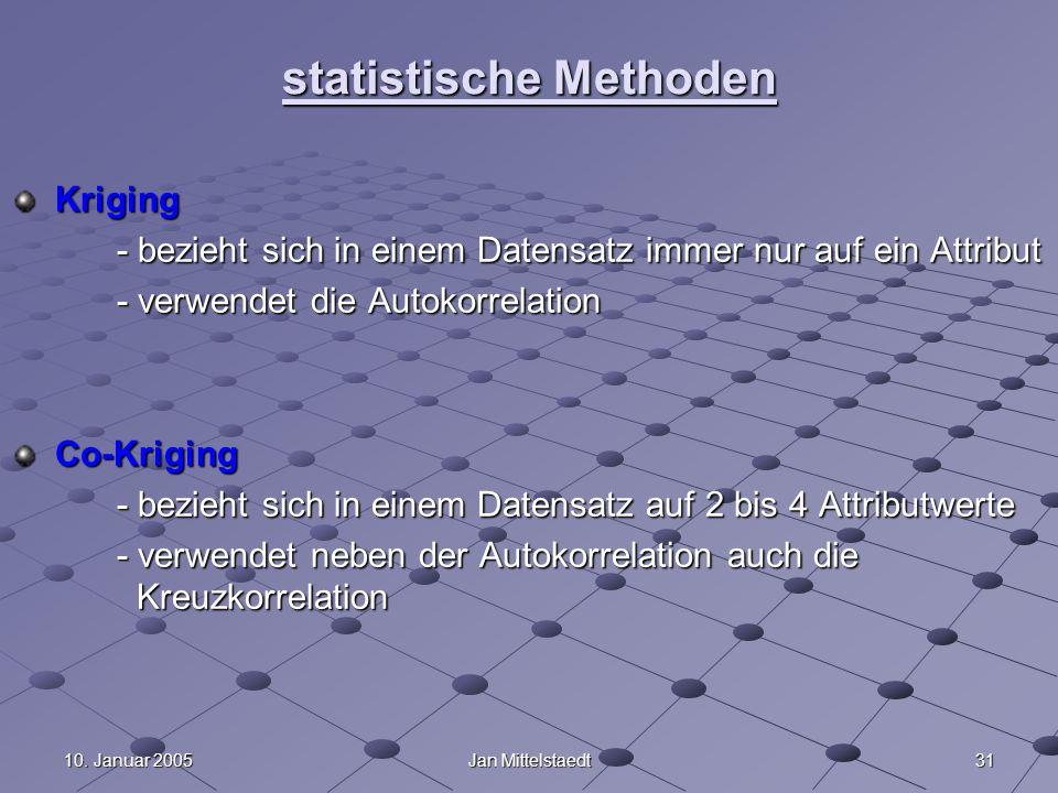 3110. Januar 2005Jan Mittelstaedt statistische Methoden Kriging Kriging - bezieht sich in einem Datensatz immer nur auf ein Attribut - verwendet die A