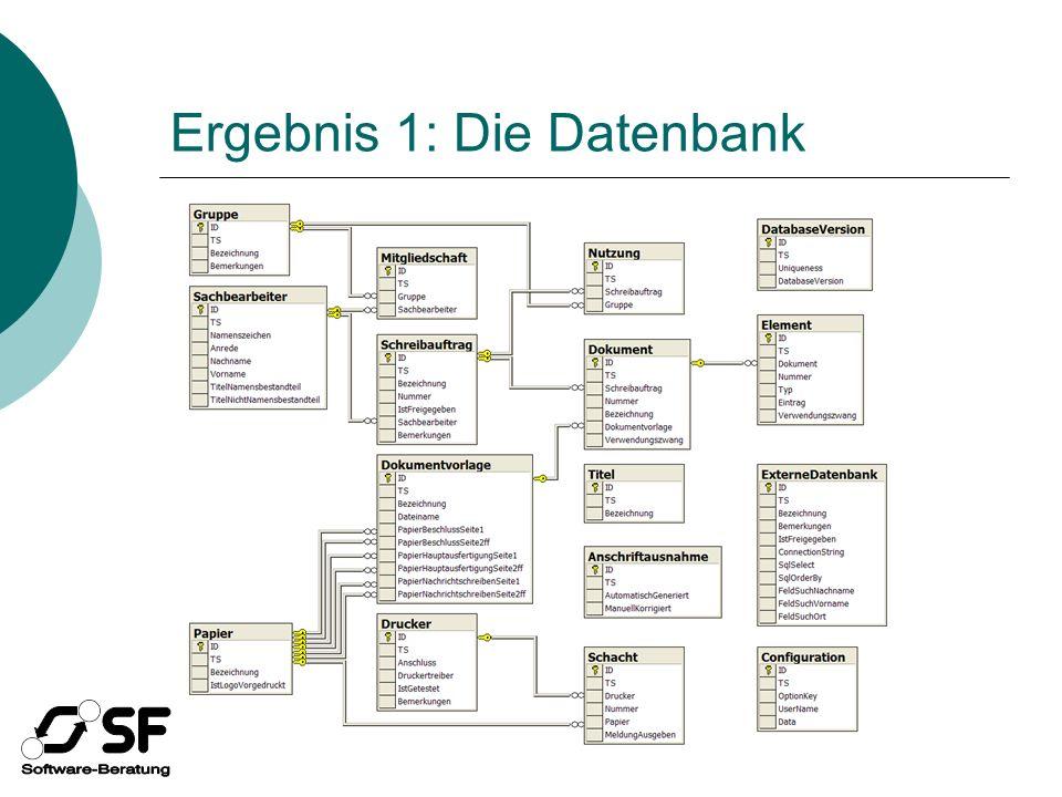 Ergebnis 1: Die Datenbank
