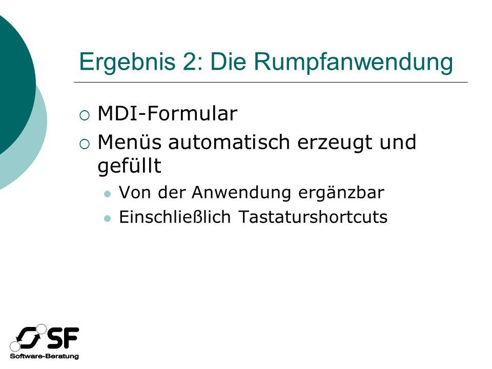 Ergebnis 2: Die Rumpfanwendung MDI-Formular Menüs automatisch erzeugt und gefüllt Von der Anwendung ergänzbar Einschließlich Tastaturshortcuts