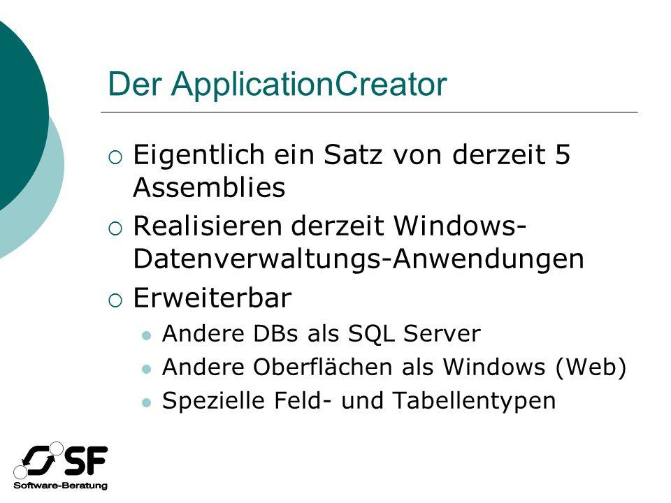 Der ApplicationCreator Eigentlich ein Satz von derzeit 5 Assemblies Realisieren derzeit Windows- Datenverwaltungs-Anwendungen Erweiterbar Andere DBs als SQL Server Andere Oberflächen als Windows (Web) Spezielle Feld- und Tabellentypen
