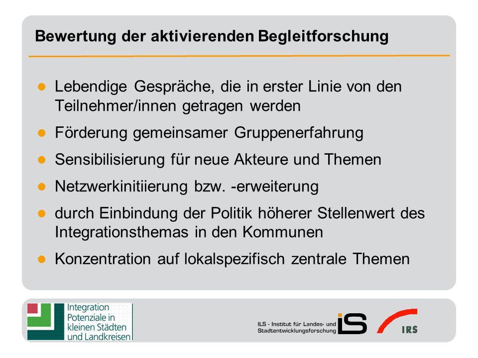 Heterogenität der Ansprüche an aktivierende Forschung (Kommunen, Auftraggeber, Lenkungskreis) begrenzte Projektdauer und personelle Ressourcen für die Begleitung Einbindung von Migranten z.T.