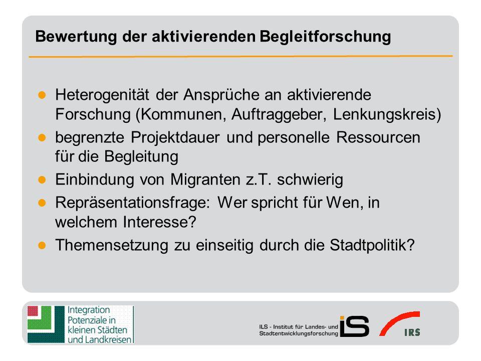 Sensibilisierung von Politik und Öffentlichkeit für das Thema Integration Unterstützungs- und Bestätigungsfunktion für die Integrationsarbeit vor Ort Schaffung bzw.