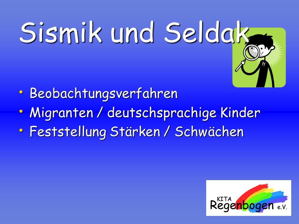 Sismik und Seldak Beobachtungsverfahren Beobachtungsverfahren Migranten / deutschsprachige Kinder Migranten / deutschsprachige Kinder Feststellung Stä