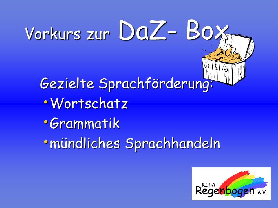 Vorkurs zur DaZ- Box Vorkurs zur DaZ- Box Gezielte Sprachförderung: Gezielte Sprachförderung: Wortschatz Wortschatz Grammatik Grammatik mündliches Spr