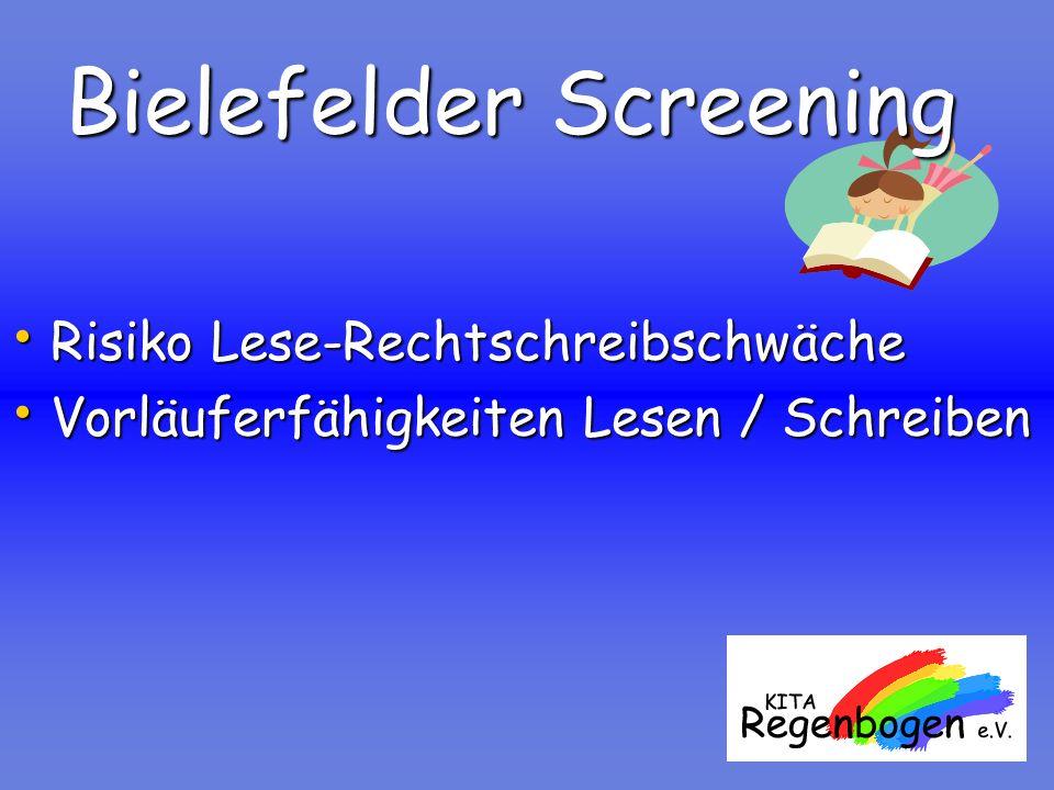 Bielefelder Screening Risiko Lese-Rechtschreibschwäche Risiko Lese-Rechtschreibschwäche Vorläuferfähigkeiten Lesen / Schreiben Vorläuferfähigkeiten Le