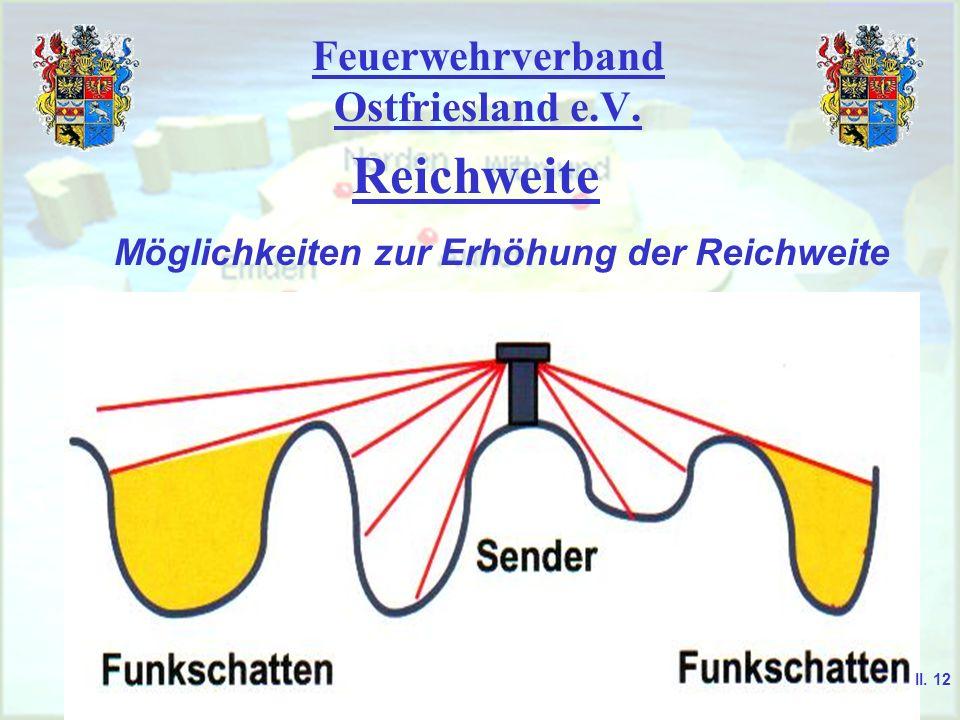 Feuerwehrverband Ostfriesland e.V. Reichweite Möglichkeiten zur Erhöhung der Reichweite II. 11