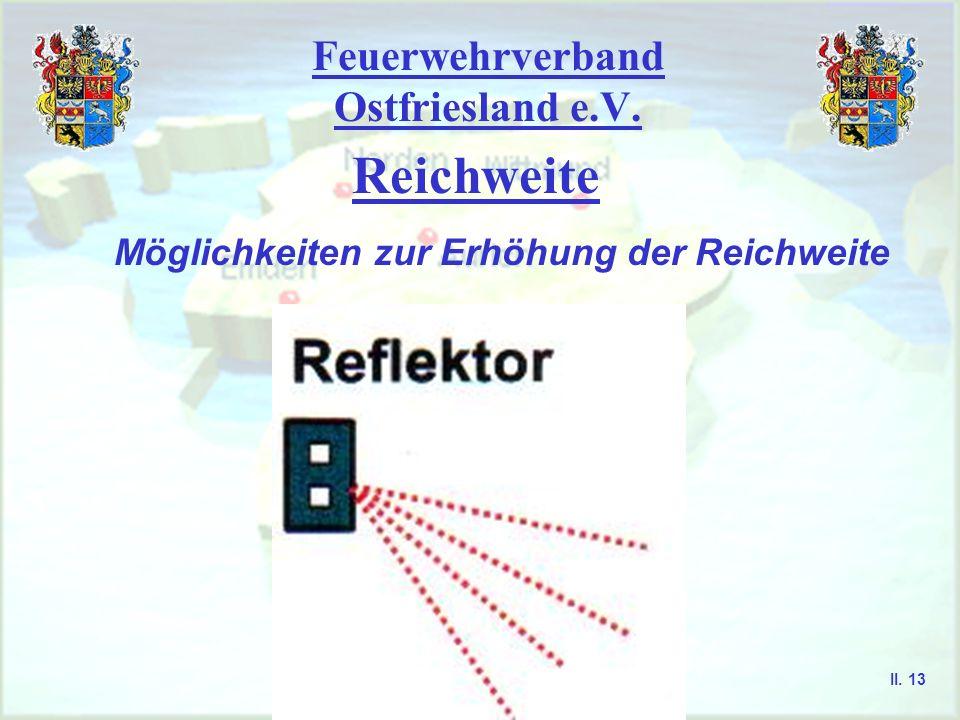 Feuerwehrverband Ostfriesland e.V. Reichweite Möglichkeiten zur Erhöhung der Reichweite II. 12