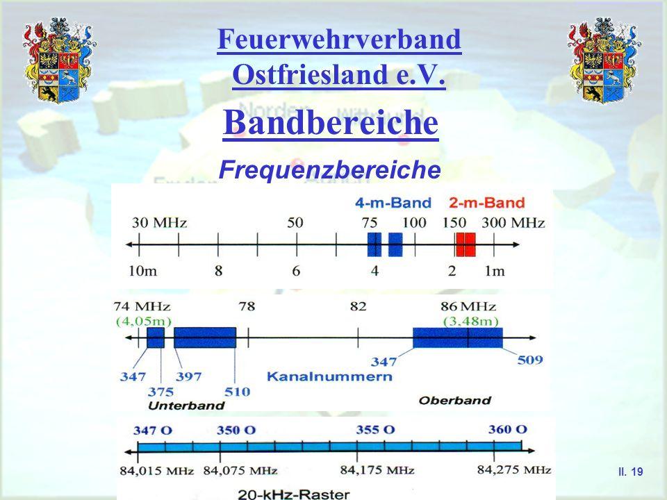 Feuerwehrverband Ostfriesland e.V. Bandbereiche Frequenzbereiche II. 18