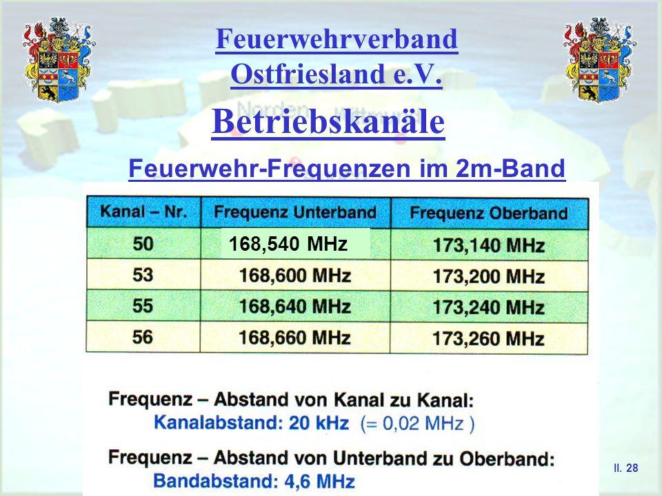 Feuerwehrverband Ostfriesland e.V. Betriebskanäle Feuerwehr-Frequenzen im 4m-Band II. 27