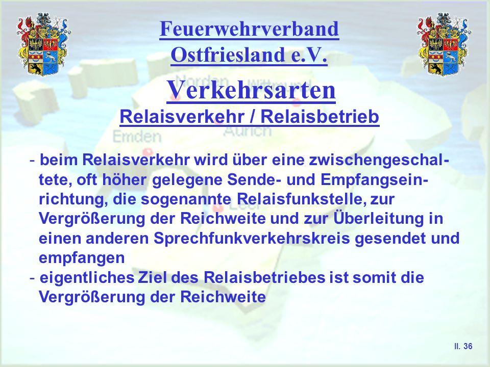 Feuerwehrverband Ostfriesland e.V. Verkehrsarten Relaisverkehr / Relaisbetrieb II. 35