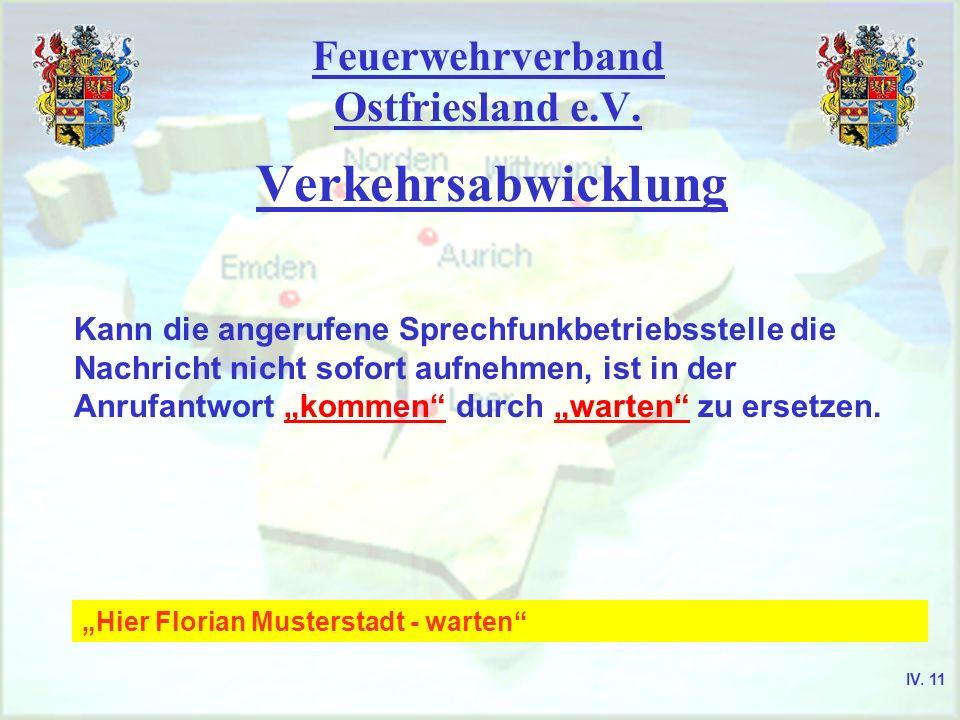Feuerwehrverband Ostfriesland e.V. Verkehrsabwicklung Kann die angerufene Sprechfunkbetriebsstelle die Nachricht nicht sofort aufnehmen, ist in der An