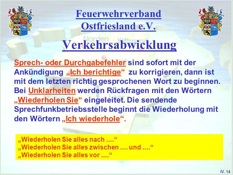 Feuerwehrverband Ostfriesland e.V. Verkehrsabwicklung Sprech- oder Durchgabefehler sind sofort mit der Ankündigung Ich berichtige zu korrigieren, dann