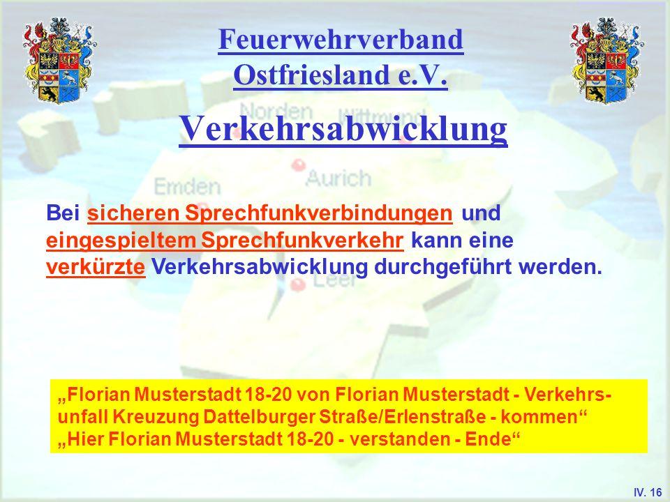 Feuerwehrverband Ostfriesland e.V. Verkehrsabwicklung Bei sicheren Sprechfunkverbindungen und eingespieltem Sprechfunkverkehr kann eine verkürzte Verk