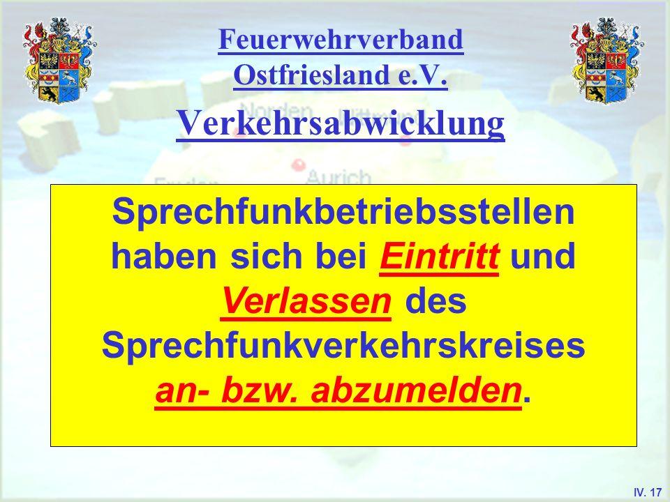 Feuerwehrverband Ostfriesland e.V. Verkehrsabwicklung Sprechfunkbetriebsstellen haben sich bei Eintritt und Verlassen des Sprechfunkverkehrskreises an