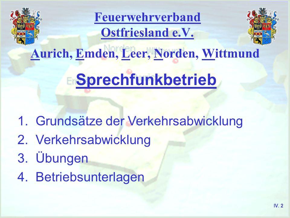 Feuerwehrverband Ostfriesland e.V. Sprechfunkbetrieb Aurich, Emden, Leer, Norden, Wittmund 1. Grundsätze der Verkehrsabwicklung 2. Verkehrsabwicklung