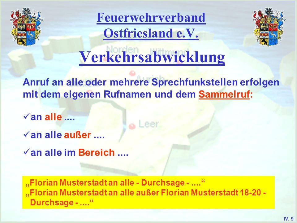 Feuerwehrverband Ostfriesland e.V. Verkehrsabwicklung Anruf an alle oder mehrere Sprechfunkstellen erfolgen mit dem eigenen Rufnamen und dem Sammelruf