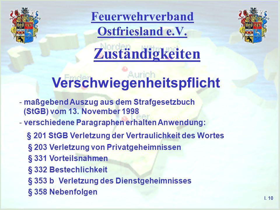 Feuerwehrverband Ostfriesland e.V. Zuständigkeiten I. 9 Telekommunikationsgesetz (TKG) § 95 Wer vorsätzlich entgegen § 86 eine Nachricht abhört oder d
