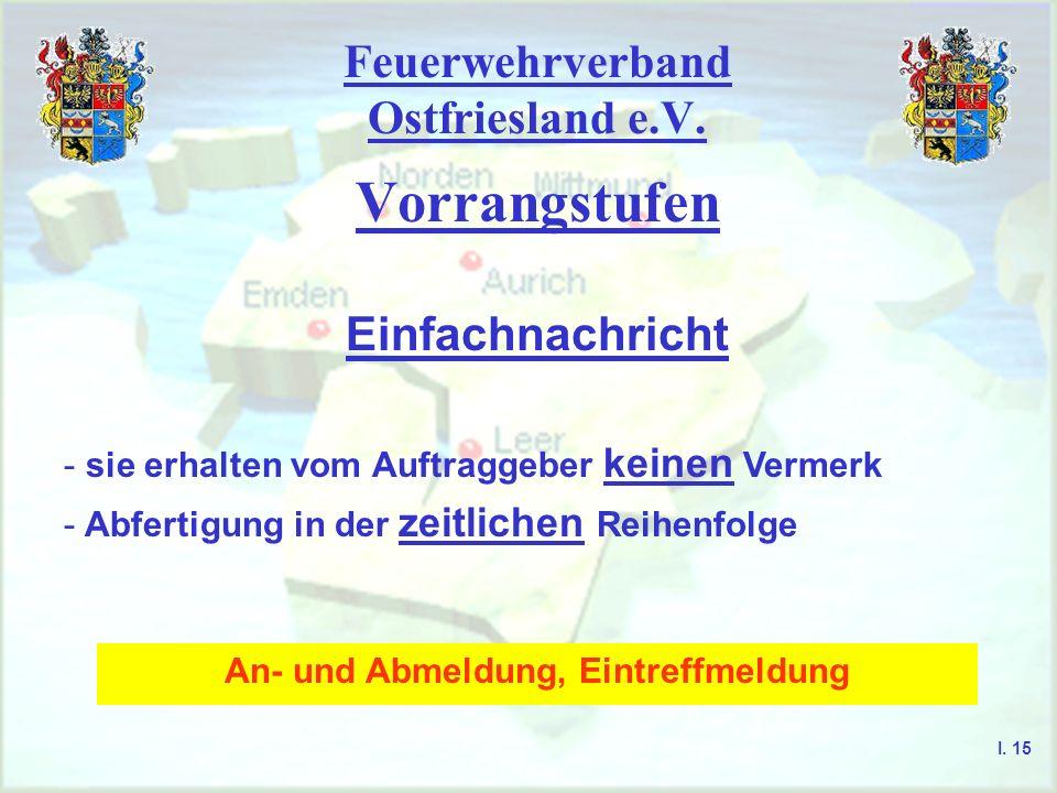 Feuerwehrverband Ostfriesland e.V. Vorrangstufen I. 14 Einfachnachricht Sofortnachricht Blitznachricht Staatsnotnachricht