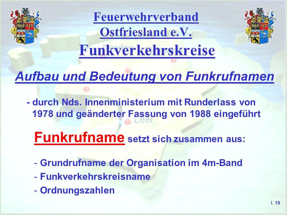 Feuerwehrverband Ostfriesland e.V. Funkverkehrskreise I. 18 Landkreis Aurich -Feuerwehr- Kanal 468 G/U Landkreis Aurich -Rettungsdienst- Kanal 352 G/U