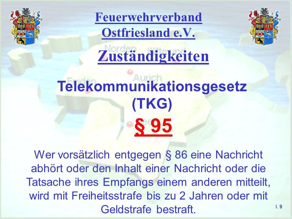 Feuerwehrverband Ostfriesland e.V. Zuständigkeiten I. 8 Telekommunikationsgesetz (TKG) § 86 Mit einer Funkanlage dürfen Nachrichten, die für eine Funk