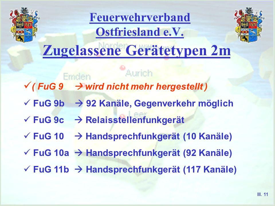 Feuerwehrverband Ostfriesland e.V. Zugelassene Gerätetypen 4m ( FuG 7b wird nicht mehr hergestellt ) ( FuG 8b Kanäle 400... 520 ) FuG 8a-1 nur Wechsel