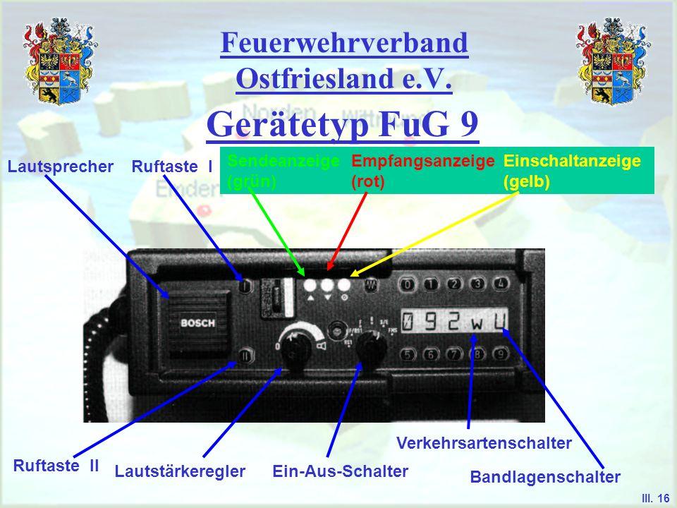 Feuerwehrverband Ostfriesland e.V. Gerätetyp FuG 9 - es dient Fahrzeugfunkgerät und Basisstation im 2m-Band unbemannte Relaisstelle für RS 1-Betrieb G