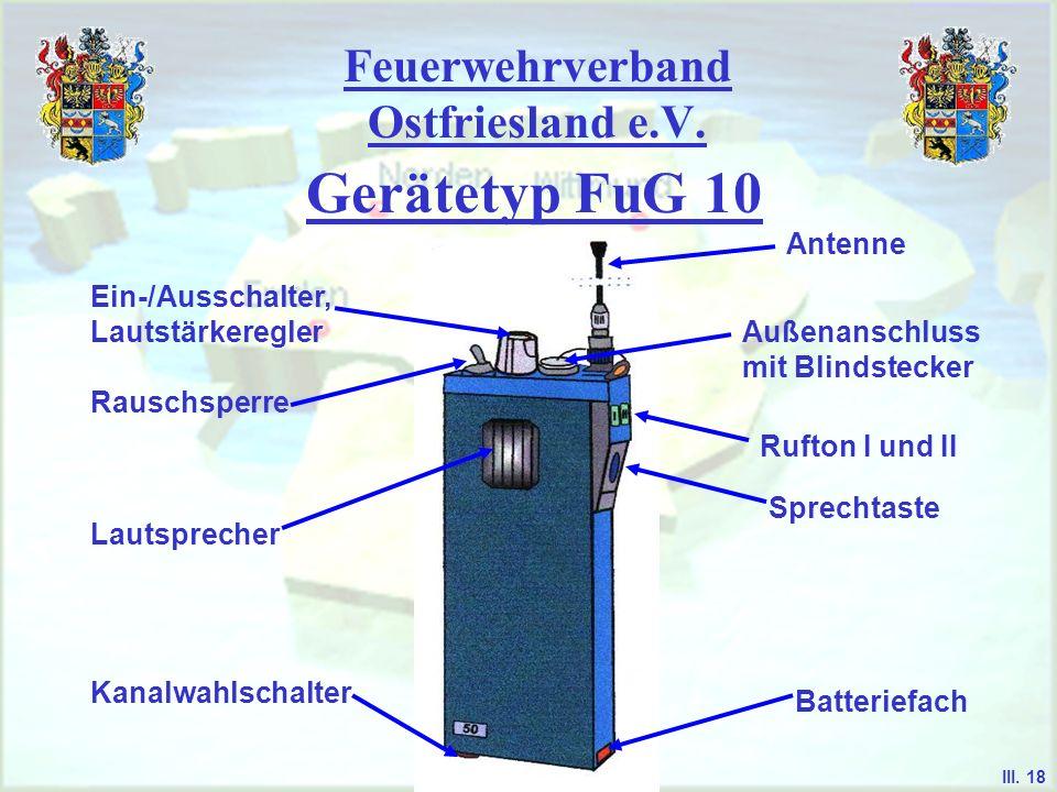 Feuerwehrverband Ostfriesland e.V. Gerätetyp FuG 10 - es dient als universell einsetzbares Handsprech- funkgerät im 2m-Band das FuG 10 findet überwieg