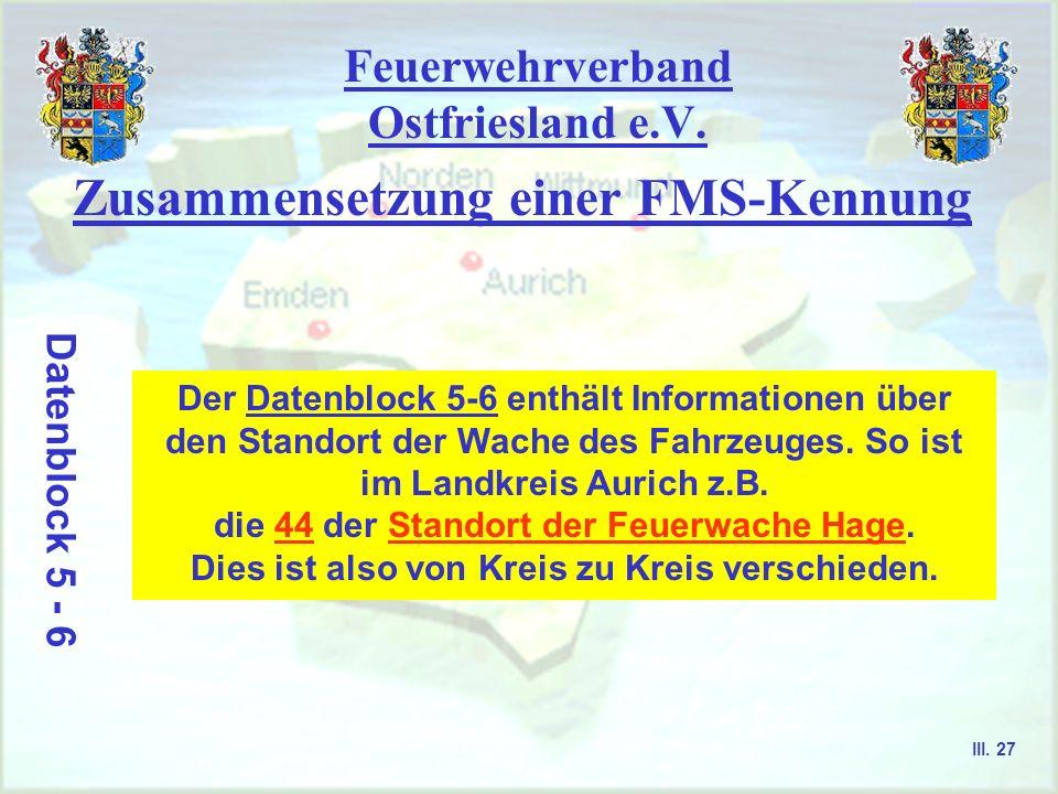 Feuerwehrverband Ostfriesland e.V. Zusammensetzung einer FMS-Kennung Datenblock 3 - 4 Der Datenblock 3-4 enthält Informationen über die Kreiskennung d