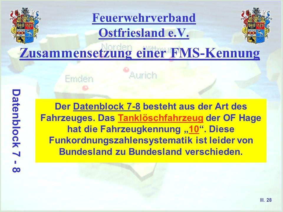 Feuerwehrverband Ostfriesland e.V. Zusammensetzung einer FMS-Kennung Datenblock 5 - 6 Der Datenblock 5-6 enthält Informationen über den Standort der W
