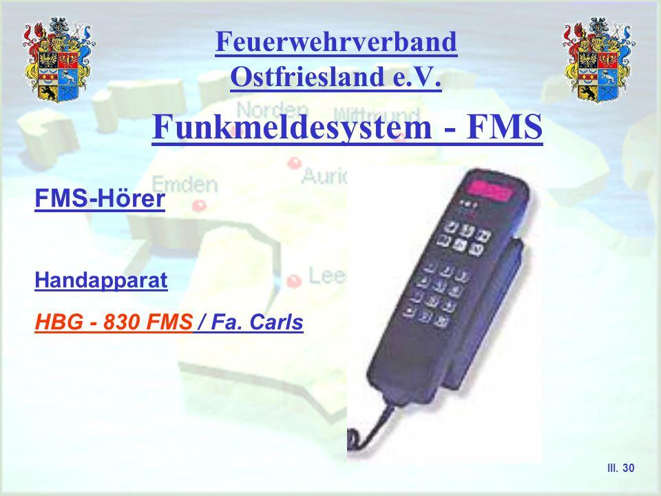 Feuerwehrverband Ostfriesland e.V. Funkmeldesystem - FMS FMS-fähige Funkgeräte - im Prinzip wird die FMS-Fähigkeit eines FuG bei den meisten Geräten d