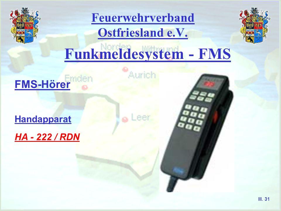 Feuerwehrverband Ostfriesland e.V. Funkmeldesystem - FMS FMS-Hörer Handapparat HBG - 830 FMS / Fa. Carls III. 30