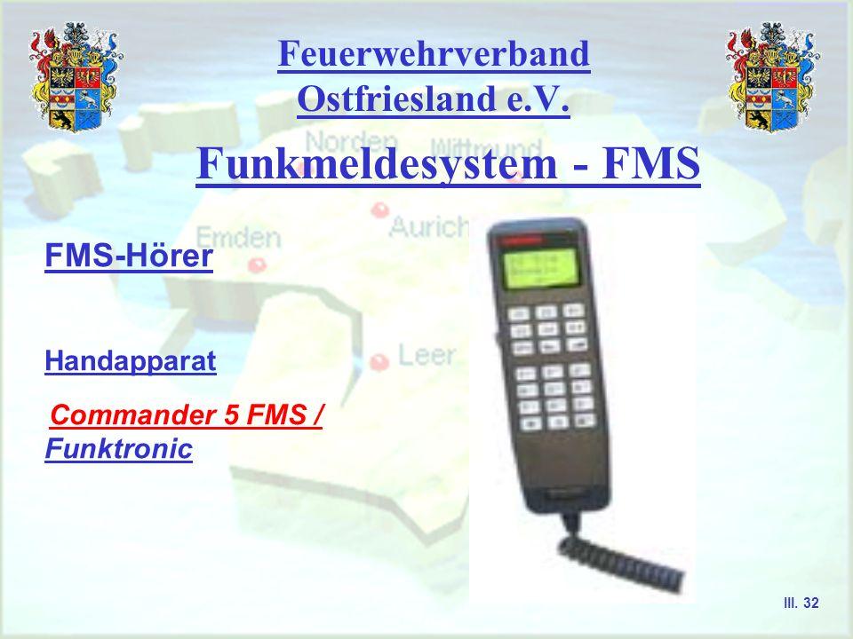 Feuerwehrverband Ostfriesland e.V. Funkmeldesystem - FMS FMS-Hörer Handapparat HA - 222 / RDN III. 31