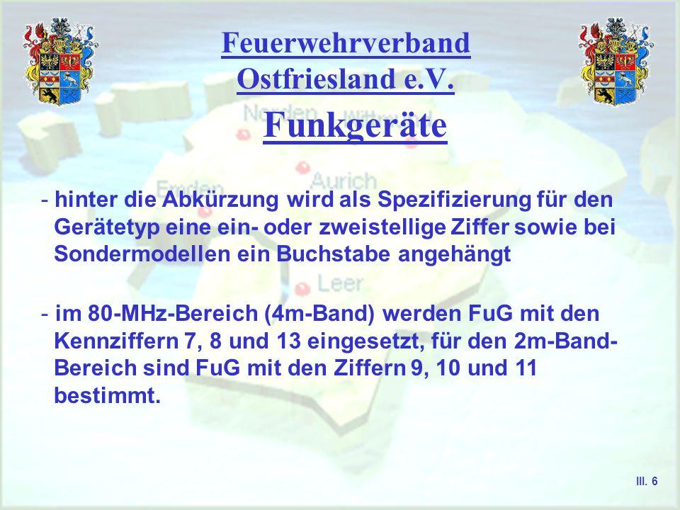 Feuerwehrverband Ostfriesland e.V. Funkgeräte - Abkürzung FuG steht für Funkgerät, diese Bezeichnung wurde bereits im 2. Weltkrieg genutzt - Funkgerät
