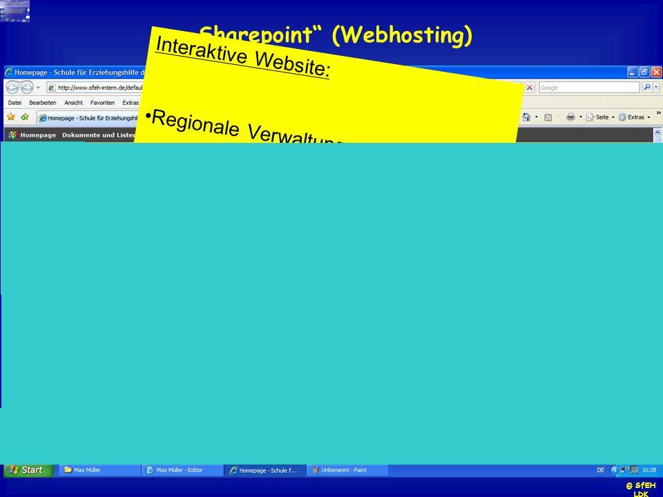 Sharepoint (Webhosting) Interaktive Website: Regionale Verwaltung Speicher (Vorlagen, Verordnungen,..) Umfragen Fotos, Präsentationen Listen, Tabellen
