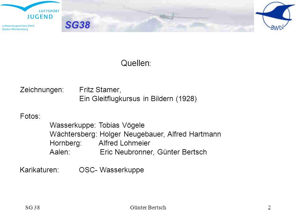 SG 38Günter Bertsch2 SG38 SG 38 der BWLV- Luftsportjugend D - 7038 Quellen : Zeichnungen:FritzStamer, Ein Gleitflugkursus in Bildern (1928) Fotos: Was