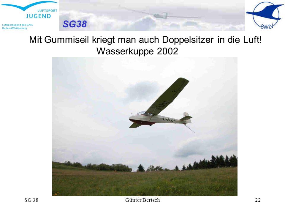 SG 38Günter Bertsch22 SG38 Mit Gummiseil kriegt man auch Doppelsitzer in die Luft! Wasserkuppe 2002
