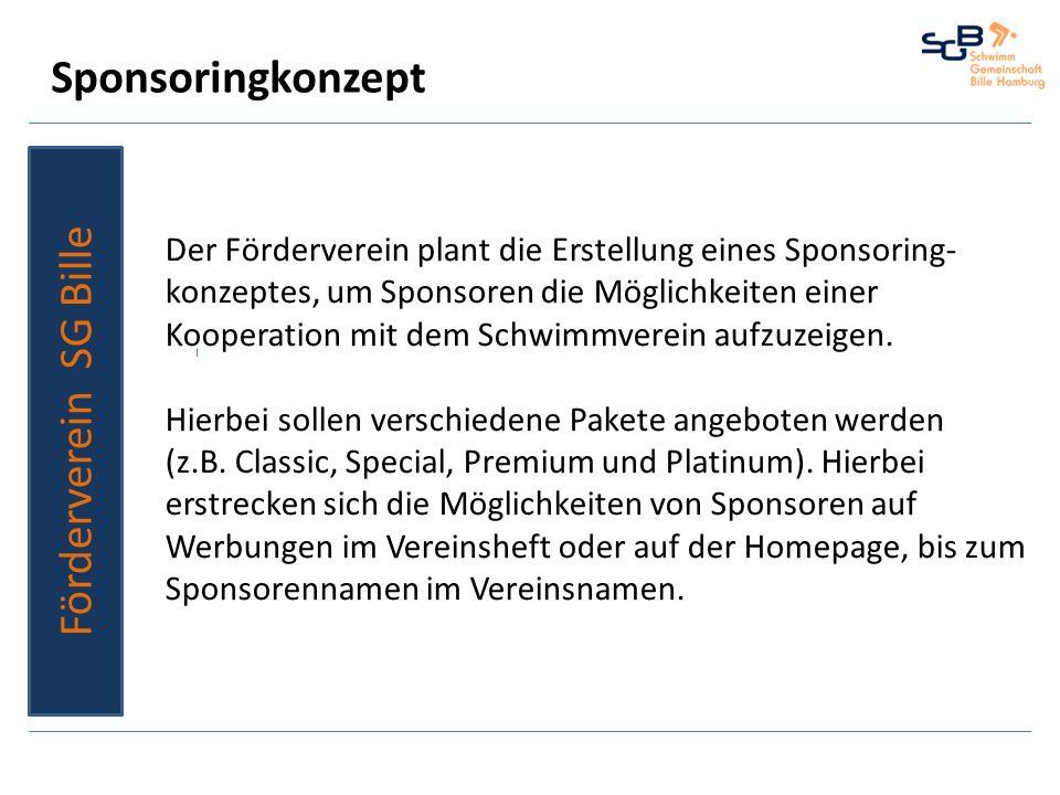 Sponsoringkonzept Förderverein SG Bille Der Förderverein plant die Erstellung eines Sponsoring- konzeptes, um Sponsoren die Möglichkeiten einer Kooper