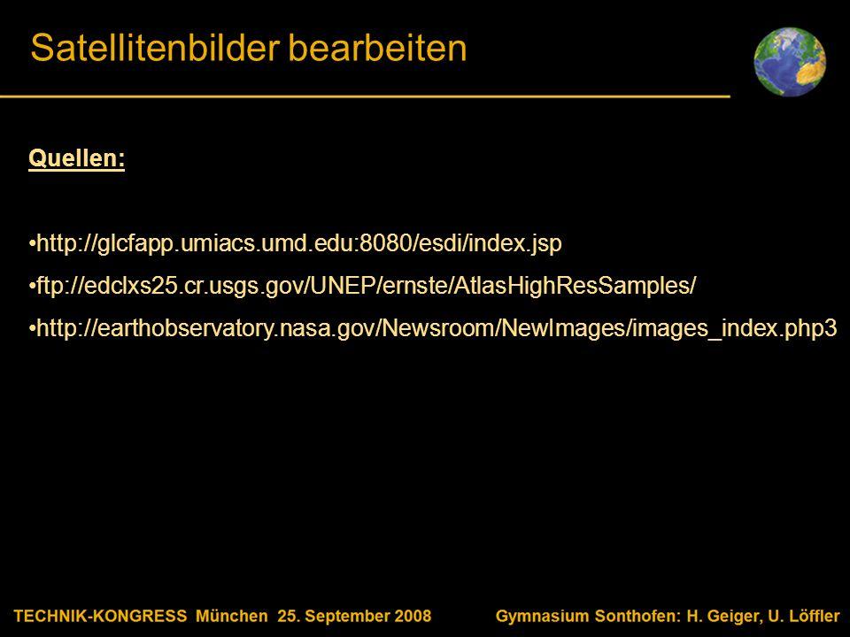 Body text Satellitenbilder bearbeiten Quellen: http://glcfapp.umiacs.umd.edu:8080/esdi/index.jsp ftp://edclxs25.cr.usgs.gov/UNEP/ernste/AtlasHighResSamples/ http://earthobservatory.nasa.gov/Newsroom/NewImages/images_index.php3