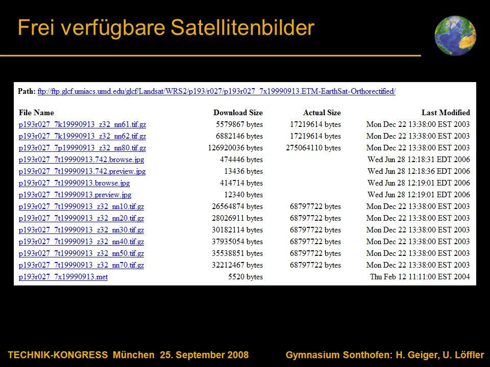 Body text Frei verfügbare Satellitenbilder