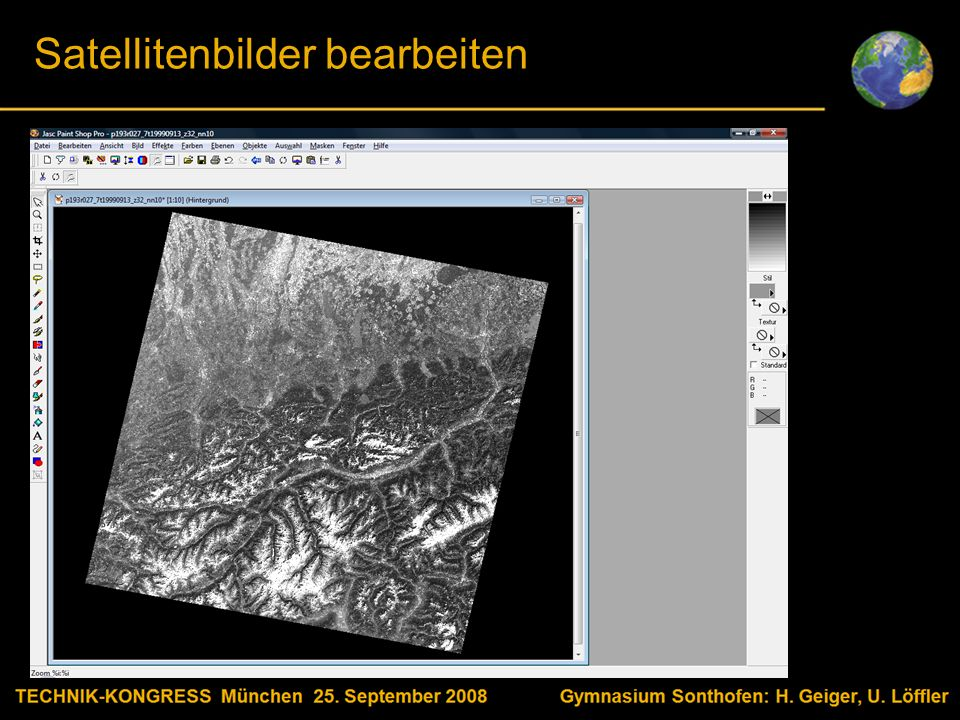 Body text Satellitenbilder bearbeiten