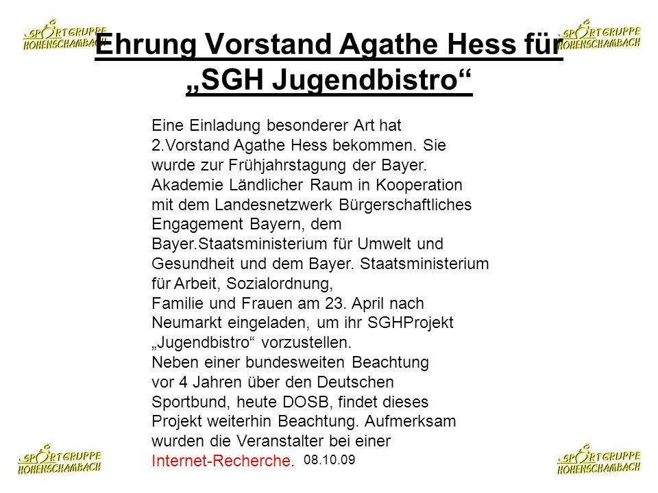 08.10.09 Eine Einladung besonderer Art hat 2.Vorstand Agathe Hess bekommen. Sie wurde zur Frühjahrstagung der Bayer. Akademie Ländlicher Raum in Koope