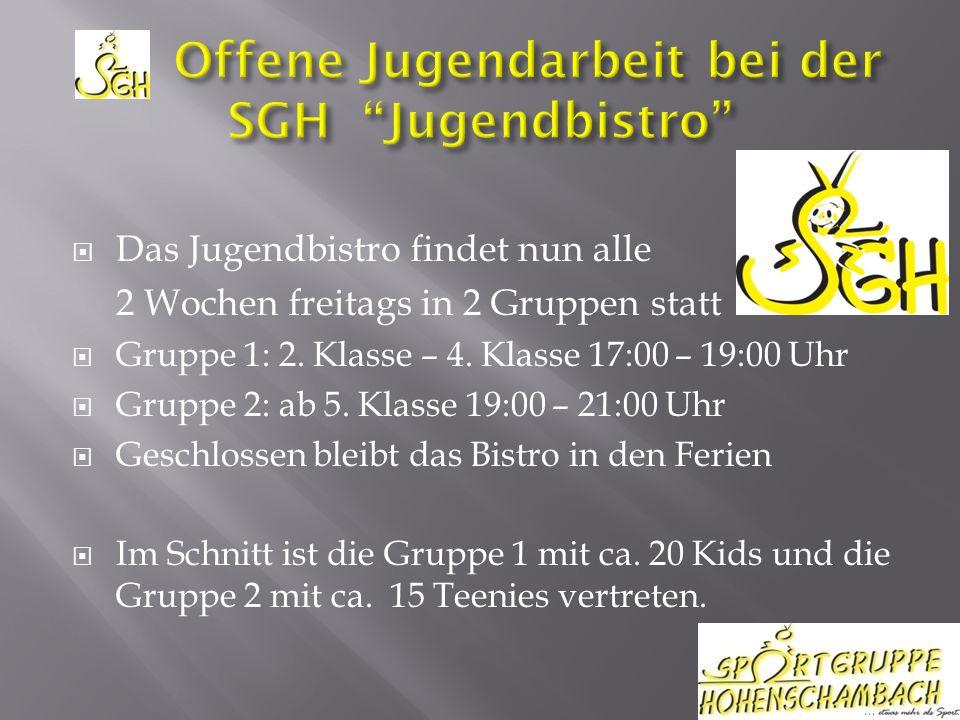 Das Jugendbistro findet nun alle 2 Wochen freitags in 2 Gruppen statt Gruppe 1: 2.